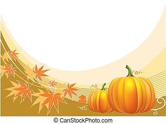 erntedank, hintergrund, vektor, pumpkins.