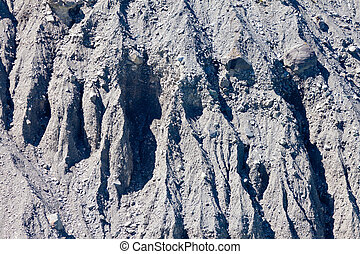 Background texture pattern of glacial moraine of glacier rubble of silt, gravel and boulders eroded by flowing water