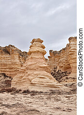 Eroded limestone column or stack at Castle Rock Badlands in ...