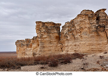 Eroded limestone formations at Castle Rock Badlands, Gove ...