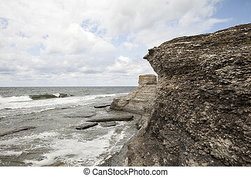 Eroded limestone formations at the coastline