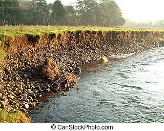 Riverbank on the River Endrick showing signs of bank erosion and instability