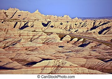 Eroded Sandstone in Badlands National Park, South Dakota, USA. Sandstone Buttes Landscape. Nature Photo Collection.