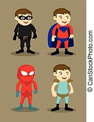 eroe, carattere, costumi, illustrazione, vettore, super
