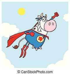 eroe, mucca, volare, carattere, bianco, super, cartone animato, mascotte