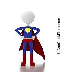 eroe, spazio, simbolo., persona, costume, vuoto, super, 3d