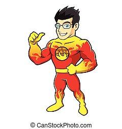eroe super, cartone animato, pompiere