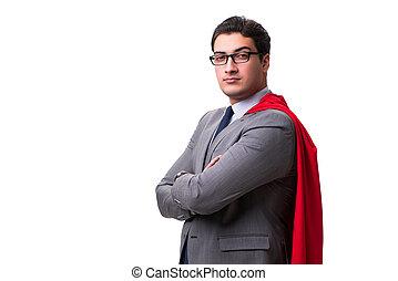 eroe super, uomo affari, isolato, bianco