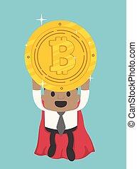 eroe, volare, bitcoin, presa a terra, africano, uomo affari, super