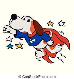 eroico, cane, super, mantello rosso, atteggiarsi