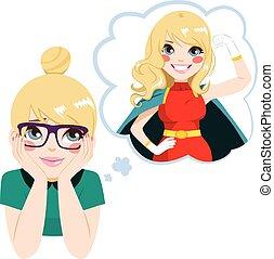eroina, ragazza, super, nerd, sognare