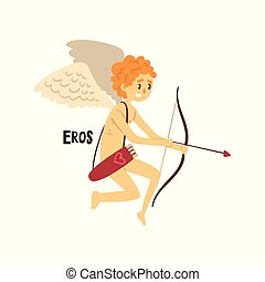 Eros Olympian Greek God, ancient Greece mythology character vector Illustration on a white background
