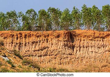erosion., 土壌, 状態, 下に