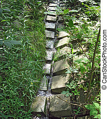 Erosion Control - Square, cement bricks set into the ground...