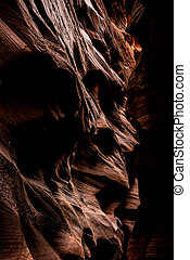 Erosion Sharpened Sandstone Wall Creates Abstract Shapes In Buckskin Gulch in Southern Utah