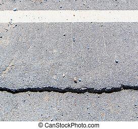 erosionado, capa, -, arcilla, dañado, asfalto
