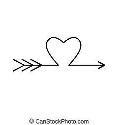 erosz, cupid)., szeret, (amour, nyíl, arrow.