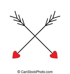 erosz, cupid)., szeret, (amour, nyílvesszö, arrows.