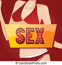 erotic - a colored icon with some text and a female body in...
