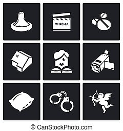 Erotic movies icons set. Vector Illustration. - Vector...