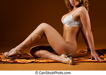 erotic - beautiful blond woman with perfect body