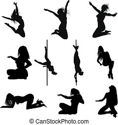 Collection of different erotic silhouettes. Vector illustration.