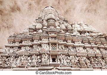 Erotic temple in Khajuraho, India. Artwork in retro style. -...