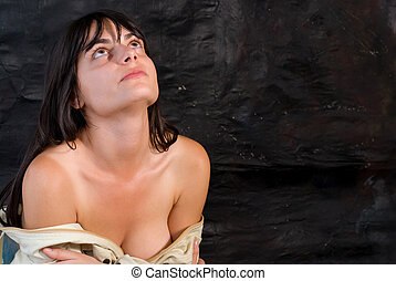 Erotic womanl - A sexual woman with decolletage on dark...