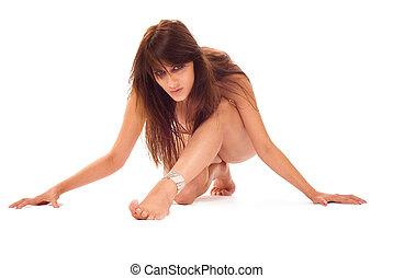 Erotic -  Young adult erotic girl kneel on white
