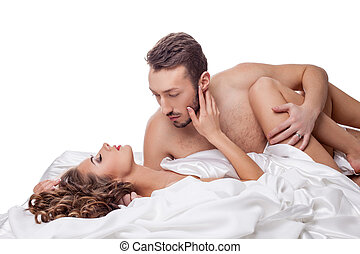 erotica., hombre, passionately, abrazar, mujer, en cama
