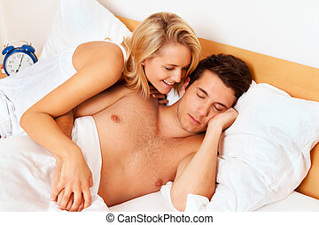 eroticism, alegria, par, bed., divertimento, risada, tem