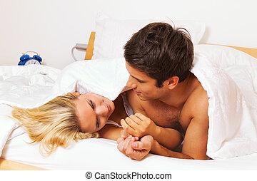 eroticism, alegria, par, cama, divertimento, risada, tem