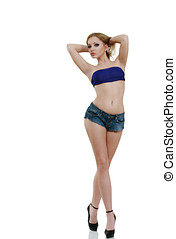 erotický, blondýnka, módní modelka