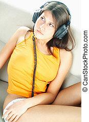 erotický, děvče, s, sluchátka, semknout se