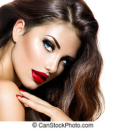 erotický, kráska, děvče, s, červené šaty omočit si rty, a,...