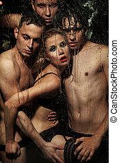 erotický, manželka, klást, muži