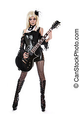 erotický, manželka, s, kytara
