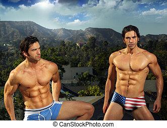 erotický, mužský, fit, dvojčata
