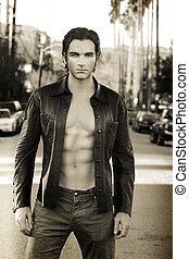 erotický, mužský, módní modelka