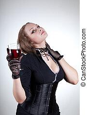 erotický, young eny, s, mikroskop k červené šaty víno