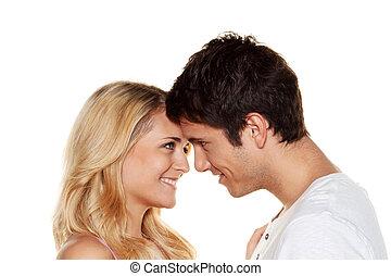 erotik, fun., liebe, paar, zartheit, hat