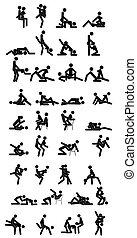 erotisch, oder, leidenschaft, design, karikatur, style., position, posen, verschieden, satz, paar, wohnung, begriff, geschlecht