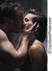 erotische , innige, kussen