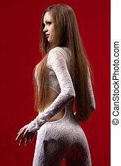 erotiske, kvinde, beklæde