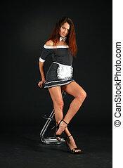 erotyk, conventionalized, garnitur, kameralna dziewczyna