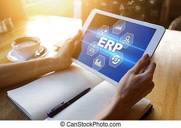 erp, 사업, system., automation., 과정, planning., 기업, 자원