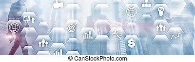 erp, 신청, 사업, plananing., 기업, 재정, 자원, concept., 아이콘