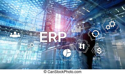 erp, 체계, 기업, 자원, 계획, 통하고 있는, 희미해지는, 배경., 사업, 오토메이션, 와..., 혁신, concept.
