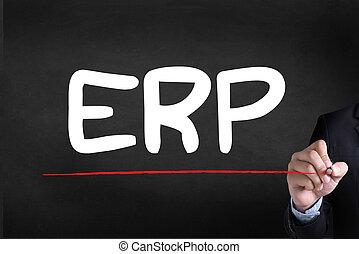 ERP as Emergency Response Procedures Businessman drawing...