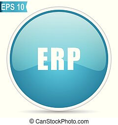 Erp blue glossy round vector icon in eps 10. Editable modern design internet button on white background.